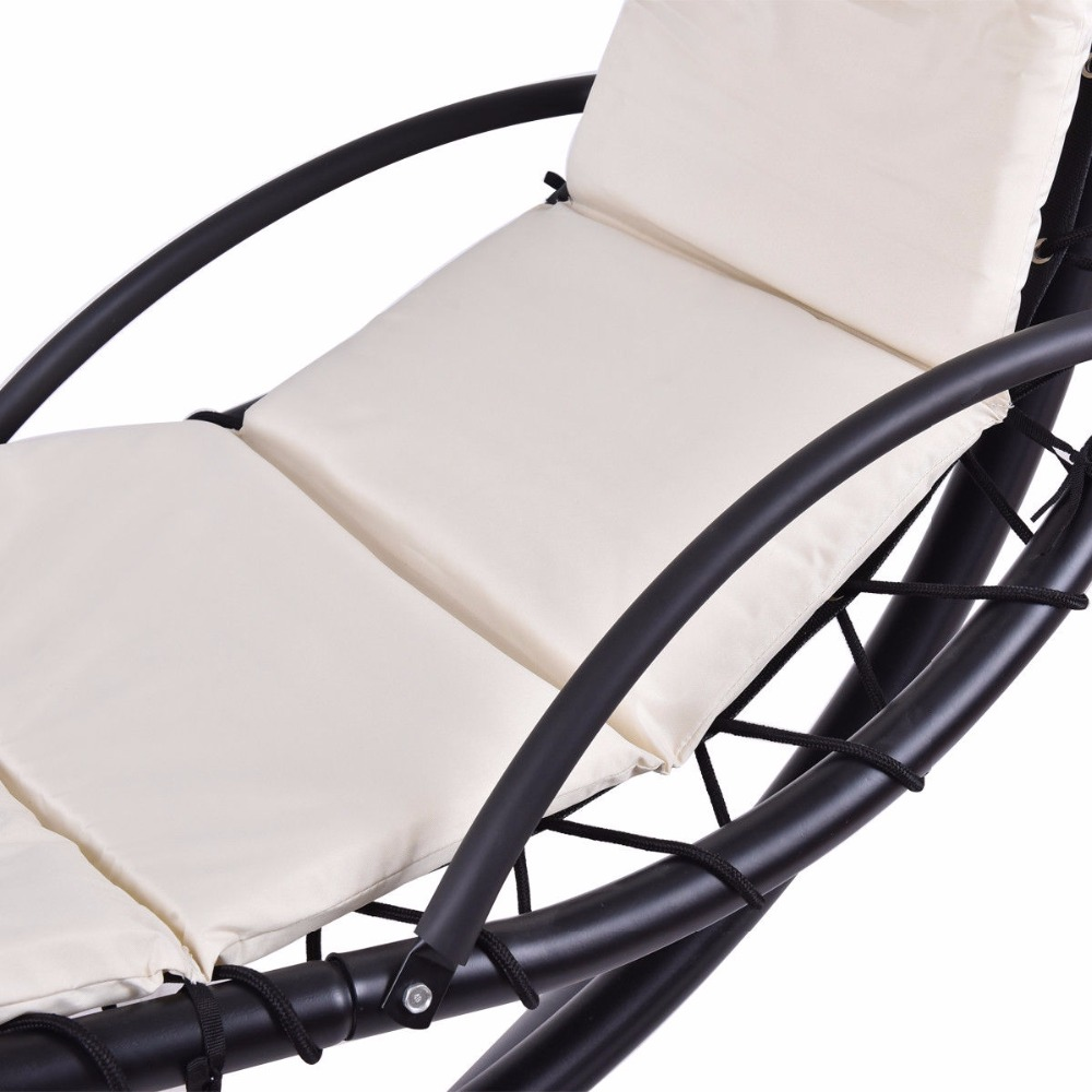 Giantex Hanging Chaise Lounger Chair Arc Stand Swing Hammock Chair Canopy Beige Outdoor Furniture OP3349WH 8