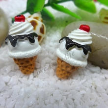 25*15mm Free Shipping!Resin Cream Ice Cream, Resin Flat Back Cabochon for Phone Decoration,Simulation food, DIY Embellishment(China)
