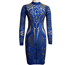 Womens Sexy Bondage Vintage Dresses Party Night Club Dress Sexy Royal Blue Party Dress Geometric Pattern Sequin Bodycon Dress