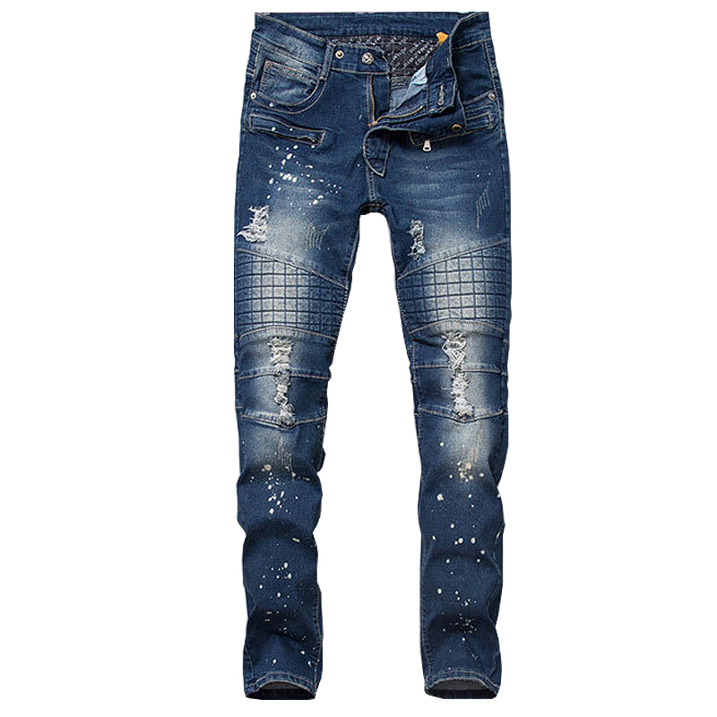 Jeans Men Pockets Designer Plaid Printed Paint Patch Mens Fashion Elastic Pants Nightclub Jeans Retro Ripped Young Broken Man Одежда и ак�е��уары<br><br><br>Aliexpress