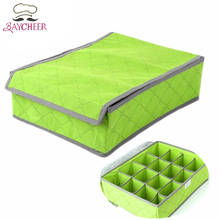 Home Storage Boxes For Underwear Socks Ties Bra Bins Closet Divider Lingerie Organizer With Cover(China)