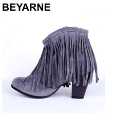 Big size 33-43 Suede Spring Autumn Women ankle boots Tassel Fringe Heels Fashion Comfort shoes Flock Black Brown Beige Grey Red