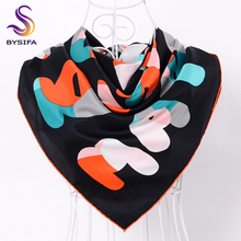 [BYSIFA] Trendy Letters Black Scarves New Twill Large Square Twill Silk Scarves Shawl Winter Ladies Silk Scarves Wraps Imitated(China)