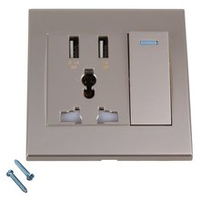 86x86x40mm Gold Square AC110-250V 2 USB Port Wall Socket Charger & Switch Control & 3 Hole AC Power Receptacle Outlet Panel