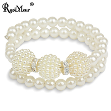 Pulseira Feminina Fashion Simulated Pearl Bracelet for Women Multilayer Cuff Braceletes & Bangles Perlas Pulseras Mujer Jewelry