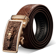 Fashion Casual Men's Leather Belts, Faux Crocodile Leather Belt Men High Quality, Crocodile Head Automatic Buckle Belt(China)