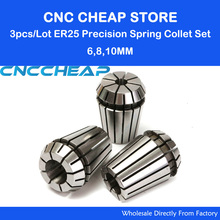 3pcs ER25 Collet chuck cnc clamp Spindle Motor holder Motor 6mm, 8mm 10mm for CNC Router milling lathe tool(China)