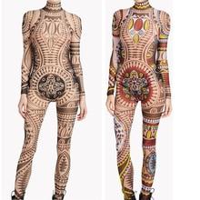 Plus Size Women Tribal Tattoo Print Mesh Jumpsuit Romper Curvy African  Aztec Bodysuit Celebrity Catsuit Tracksuit e8c0fade52fd