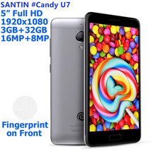"SANTIN Promotion #Candy U7 16MP Touch id 3000mAh 5.0"" full HD 4G LTE 3GB RAM 32G ROM Android 5.1 MTK6753 Octa Core Smartphone"