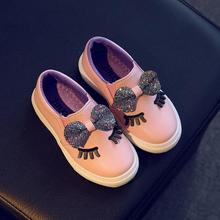 Children shoes 2018 fashion Spring Bowknot Shoes girl sneaker Sequins princess party with flat Shoes kids trainers for girls 90E(China)