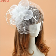 JETTING White Birdcage Net Wedding Bridal Fascinator Face Veils Feather Flower with Hairpins