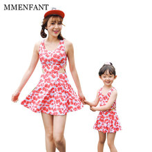 Mother daughter dresses Swimwear One Piece Swimsuit 2017 vestidos Women Bathing Suit Swim Cute red flowers Summer Beach Wear