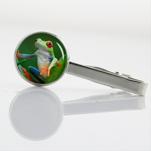 Tropical biology tree frog tie pin Novelty animal art Kiwi Birds Owl Peacock Mantis Eagle Bat Tie Clips Men's Accessories T627(China)