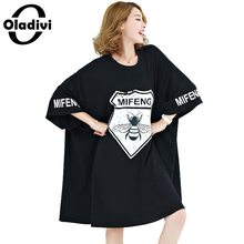 Buy Oladivi Plus Extra Large Size Women Clothing Casual T-Shirt Fashion Lady Tops Tees Pattern Letter Printing Summer Dress Vestidos for $20.95 in AliExpress store
