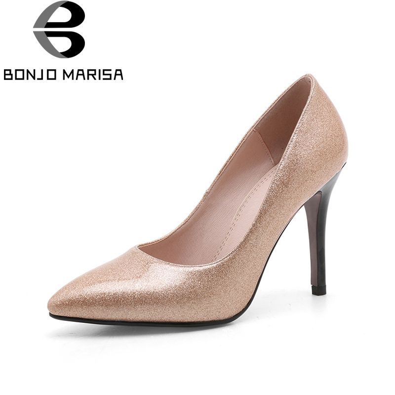 BONJOMARISA 2018 Size 34-39 Thin High Heels Woman Pumps Slip On Office Lady Pumps Red Women Shoes Woman<br>