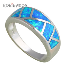 Wholesale Retail Blue fire Opal Silver stamped Rings fashion Jewelry USA size #6.5 #6.75 #7.75 #8.5 Best gifts OR530(China)