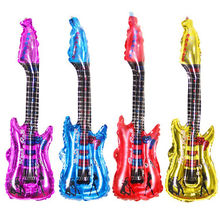 4 Colors Cartoon Inflatable Blow Up 85x30cm Rock Guitar Balloon Toy For Kids Birthday Gift(China)