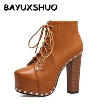 BAYUXSHUO New Women Ankle Boots Ultra High Heel Punk Boots Rivet Platform Booties Lace Up Shoes Woman Motorcycle boots Plus Size(China)