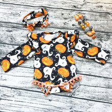 Buy 2017 new hot Baby Girl Boutique halloween Pumpkin outfits Romper Pom pom Romper newborn girl halloween baby outfit necklace for $11.99 in AliExpress store