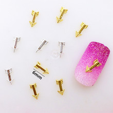 10Pcs/Lot Japan 6mm Gold Silver Short Arrow 3D DIY Metal Alloy Nail Art Deco Nail Stickers/Charms/ Tools for Manicure