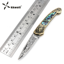 KKWOLF imitation Damascus steel folding knife camping Tactical survival knives colorful Abalone shell handle key keychain tools(China)
