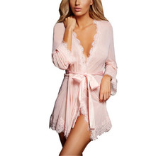 Buy Lenceria Sexy Women's Pajamas Lace Transparent Sexy Sleepwear Sexy Lingerie Hot Kimono Bathrobe Dressing Sex Erotic Underwear