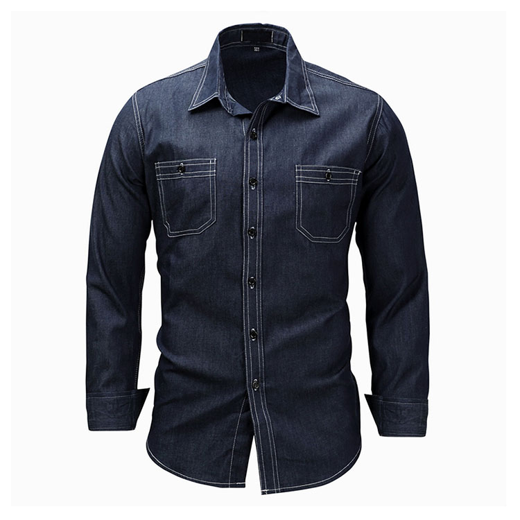 Aolamegs Denim Shirts Men Long Sleeved With Chest Pockets Jean Shirt Solid Color Fashion Casual Cotton Shirts Plus Size M-XXXL (4)