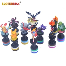 LIGHTAILING Brand 7pcs Pocket Moster Go Digimon Figures Action Figures with base Anime Pikachu Kids Baby Toys Gift Education Toy