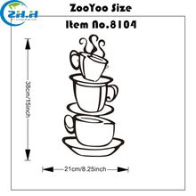 2017 Hot Sale DIY Kitchen Decor Coffee House Cup Decals Vinyl Wall Sticker Home Decor Wholesale Price(China)