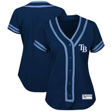 MLB Women's Tampa Bay Rays Navy/Light Blue Fashion Absolute Victory Cool Base Team Jersey(China)