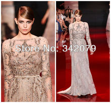 ph03399 silver long sleeve fully embroidered dress  with lace applications elie saab haute couture evening dress long sleeve