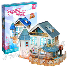 132PCS Rural Villa Dollhouse Princess Series New 3D Puzzle DIY Jigsaw Assembly Model Building Set Architecture Kids Girls Toys