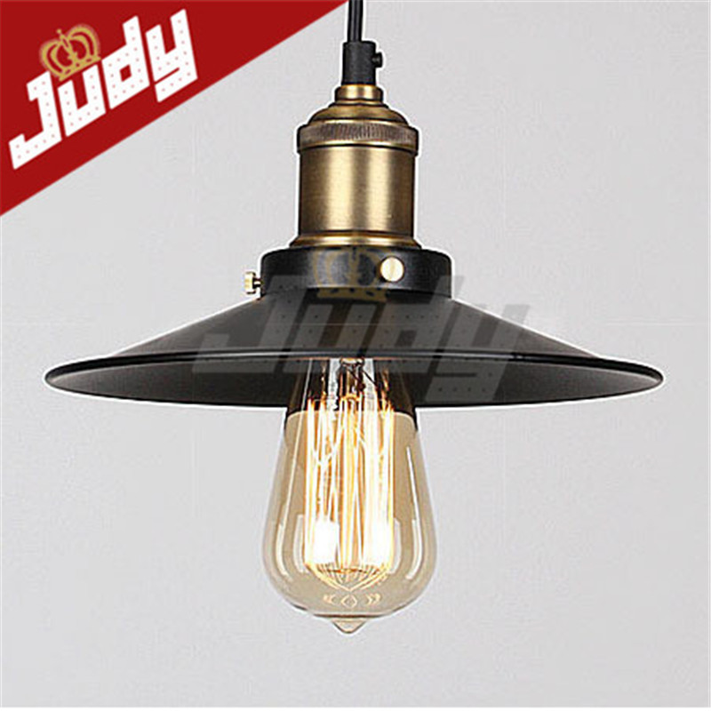 Judy Lighting - Vintage Mini Pendant Light Loft Retro Style Hanging Lamp Antique Edison With Black Lampshade E26/E27 <br><br>Aliexpress