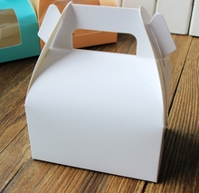 White paper cake box with handle_wedding party favour boxes good for handmade gift packing box soap muffin cookies 30pcs/lot