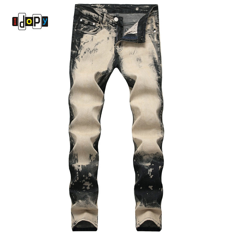 Idopy Men's Vintage Jeans Pants Fashion Streetwear Stretch Denim Trousers For Male Plus Size 28-42 Washed Straight Jeans