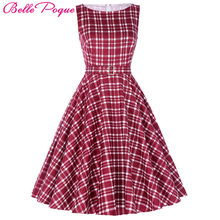 Belle Poque Womens Vintage Plaid Party Dresses 2017 50s 60s Robe Femme Pin Up Retro Summer Clothes Women Rockabilly Clothing(China)