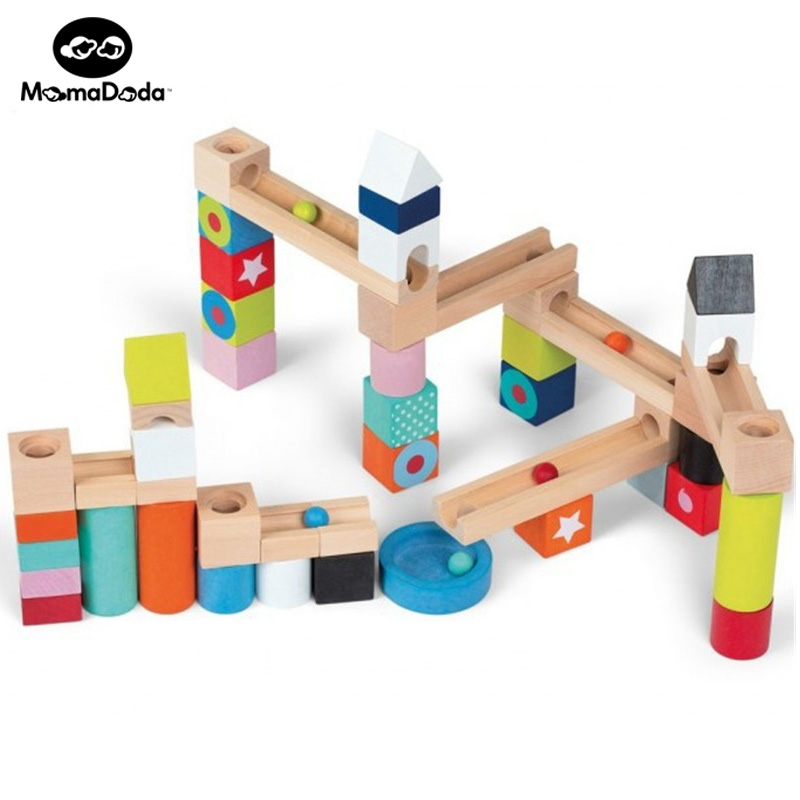 50pcs Wooden Children Orbit Building Blocks Marble Race Montessori Educational Toy For Kids Splicing Rail Slide Beads Toy<br><br>Aliexpress