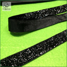 10yds 10mm Sparkle Glitter Velvet Ribbon Headband Clips Bow Black(China)