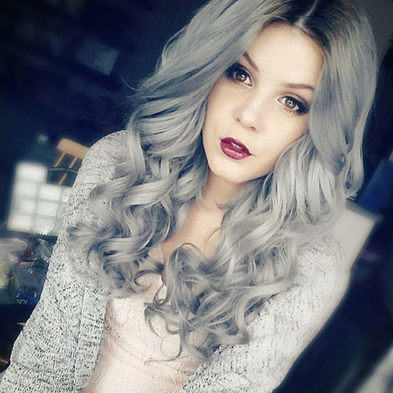 Grey Ombre Wig False Hair Synthetic Wigs for Black Women 26 Long Wavy Cheap Wigs Kylie jenner Gray Wig Female Hair<br><br>Aliexpress