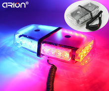 Hot Sale!!! Magnets 24W 24LED Car Double side Mini LED Emergency Vehicle Strobe Light Warning lightbar Lights Beacon Red Blue(China)