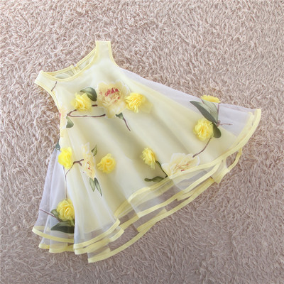Girls dress is the new 2016 summer childrens princess dress organza flowers vest drees of bitter fleabane bitter fleabane <br>