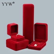 High Grade Velvet Jewelry Set Box Earrings Bracelet Ring Necklace Gift Boxes Cases Display Red Package Wedding Jewelry Boxes(China)