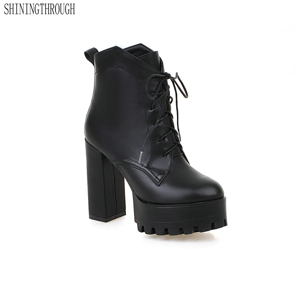 SHININGTHROUGH New Ankle Boots lace-up Fashion Autumn Short Shoes Woman Boots round Toe platform Shoes Women Ankle Boots<br>