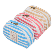 Travel Portable Navy Cross Stripes Cosmetic Bag Make up Toiletry Holder Pencil Pouch Beauty Wash Bags Storage Purse RD677176