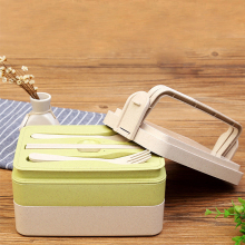 Wheat straw three layers lunch box/Portable Equipped cutlery Biodegradable food storage box Students' gifts(China)