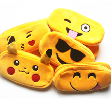 (1Pcs/Sell) Kawaii Face Plush PencilsBags Kawaii Girl Pencil Case Durable Large Capacity School Supplies Stationery High Quality