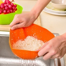 Useful Multifunction Orange Silicone Kitchen Drain Basket Rice Washing Vegetables And Fruit Baskets Microwave Dish Plate Cover(China)