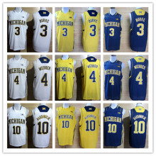 #4 Chirs Webber #1 Glenn Robinson #3 Trey Burke #10 Tim Hardaway Jr Michigan Wolverines College Basketball Jersey(China)