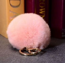Fluffy 11 colors Rabbit Fur Pompom 8CM For Bags&Cars Charm Real Natural Fur Balls Genuine Fur Pom Poms Key Chain Fi-K005-pink