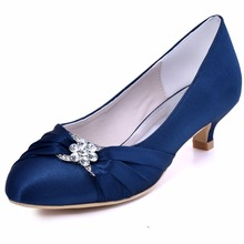 EP2006L Women Shoes Blue Bridal Party Low Heel Comfort Pumps Almond Toe Mary Jane Satin Rhinestones Wedding Shoes